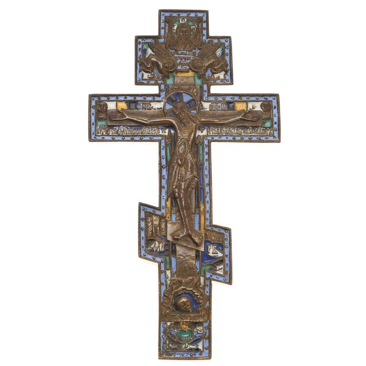 Russian Orthodox bronze, champleve enamel cross