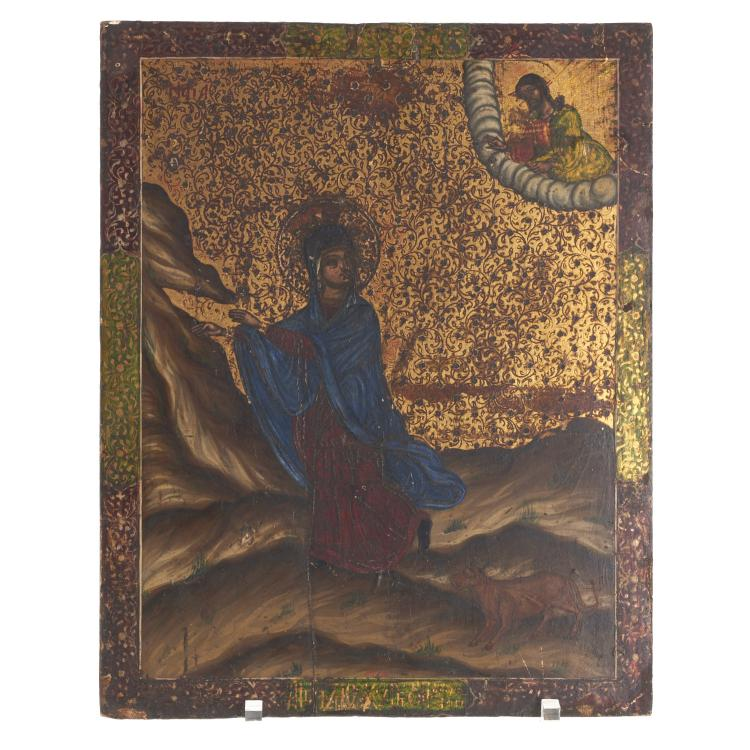 Greek polychrome wood icon of a female saint