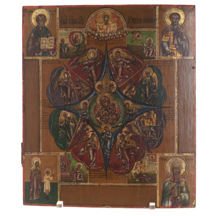 Greek polychrome wood icon of Virgin and Child