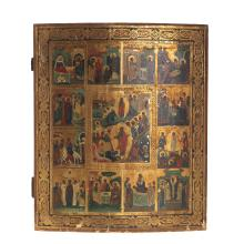 Russian polychrome wood icon of Life of the Virgin
