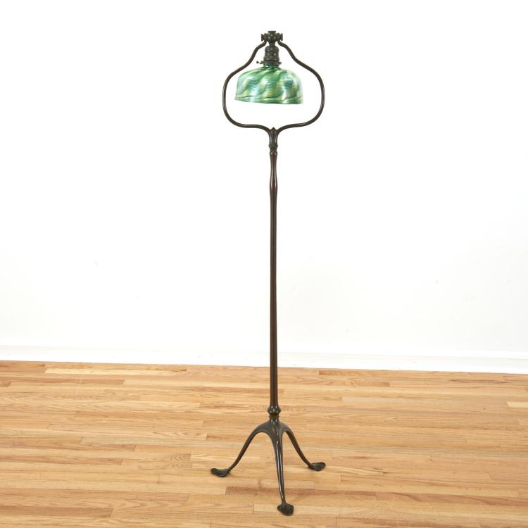 Attr. Tiffany Studios bronze, damascene floor lamp