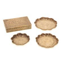 Group Tiffany Studios bronze desk accessories