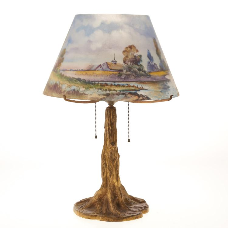 Pairpoint reverse painted lamp signed H. Fisher