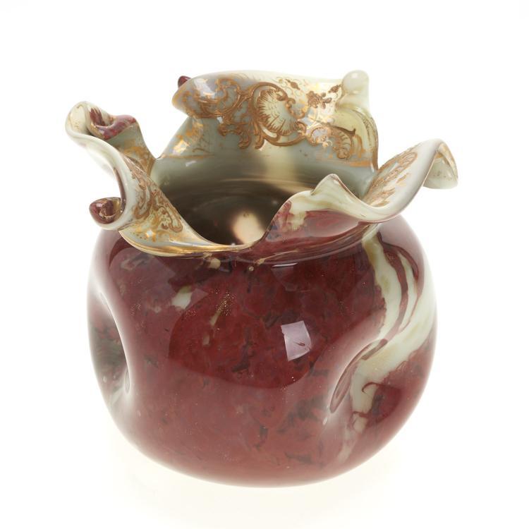 Victorian parcel gilt art glass vase