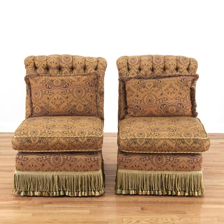 Pair Turkish Revival button tufted bergeres