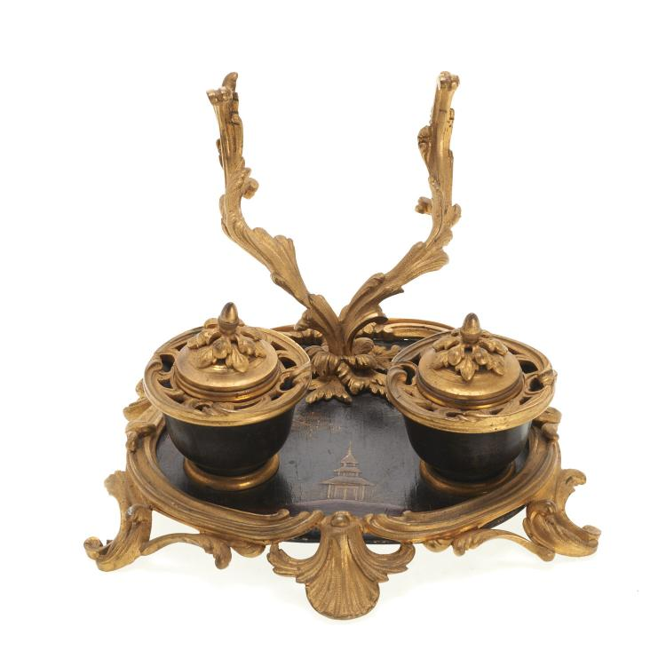 Louis XV style gilt bronze and chinoiserie encrier