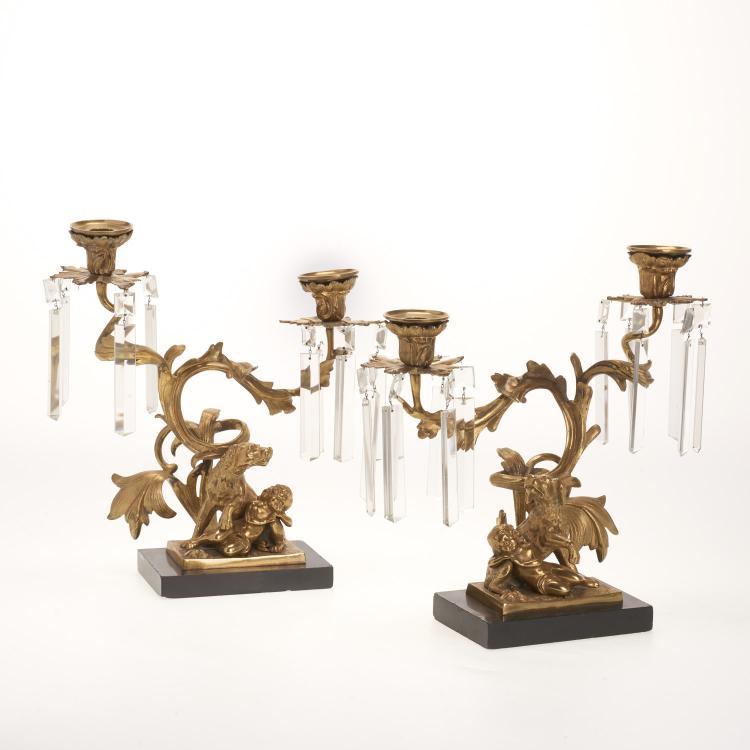 Pr Louis XV style gilt bronze, crystal candelabra