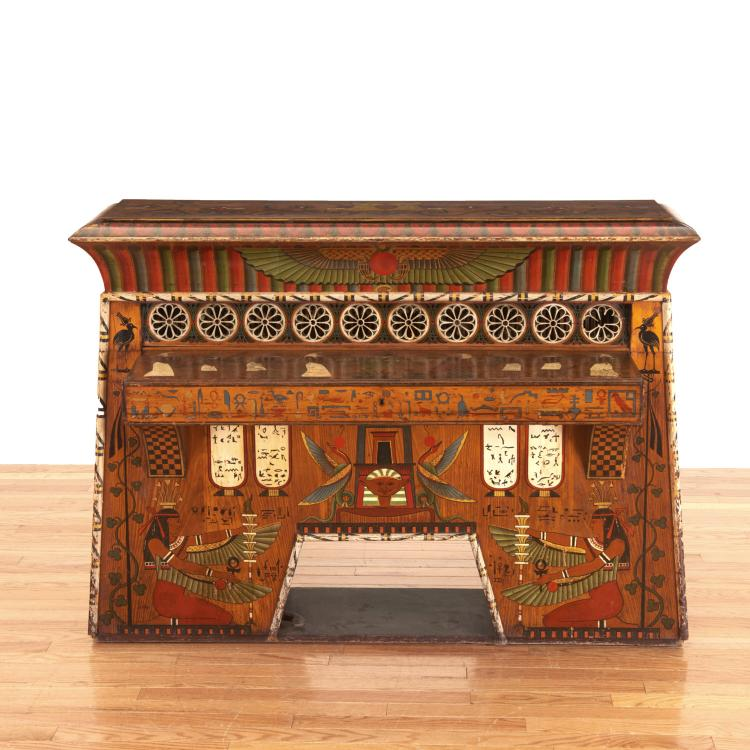 Egyptian Revival spinet piano