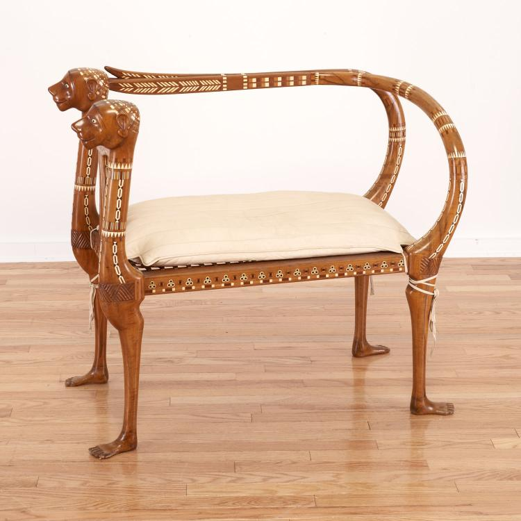 Nice Egyptian revival inlaid fruitwood settee