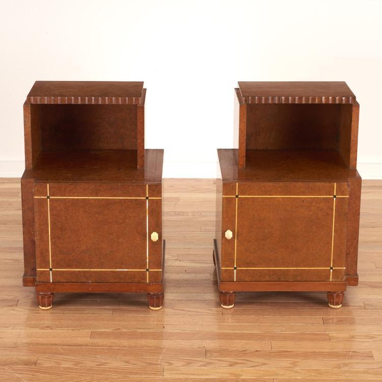 Pair Deco burr wood side tables, attr. Jules Leleu