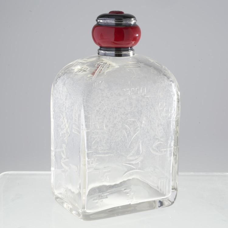 French Art Deco silver, glass perfume bottle