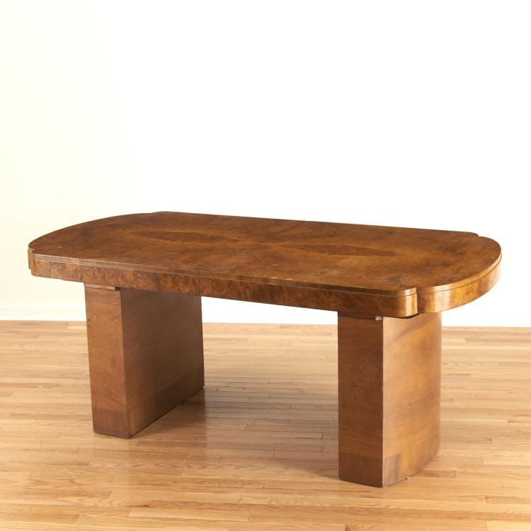 Deco burr wood dining table, attr. Jules Leleu