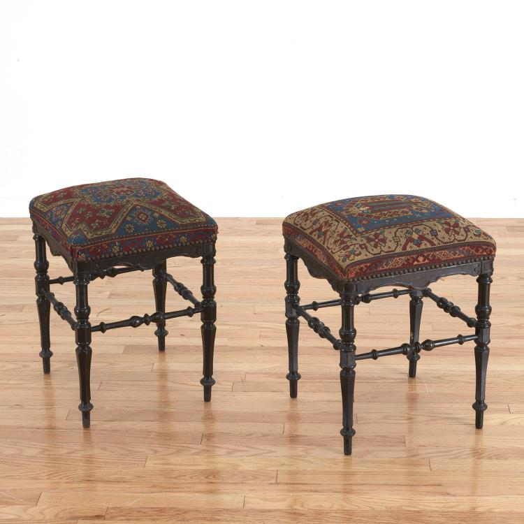 Pair Caucasian style needlepoint stools