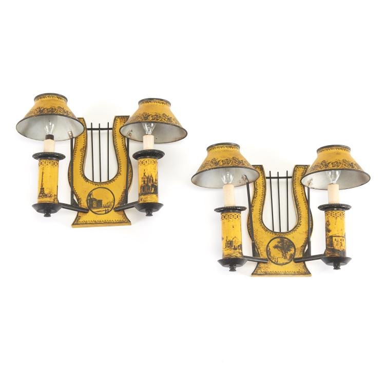 Pair Empire style yellow tole lyre back sconces