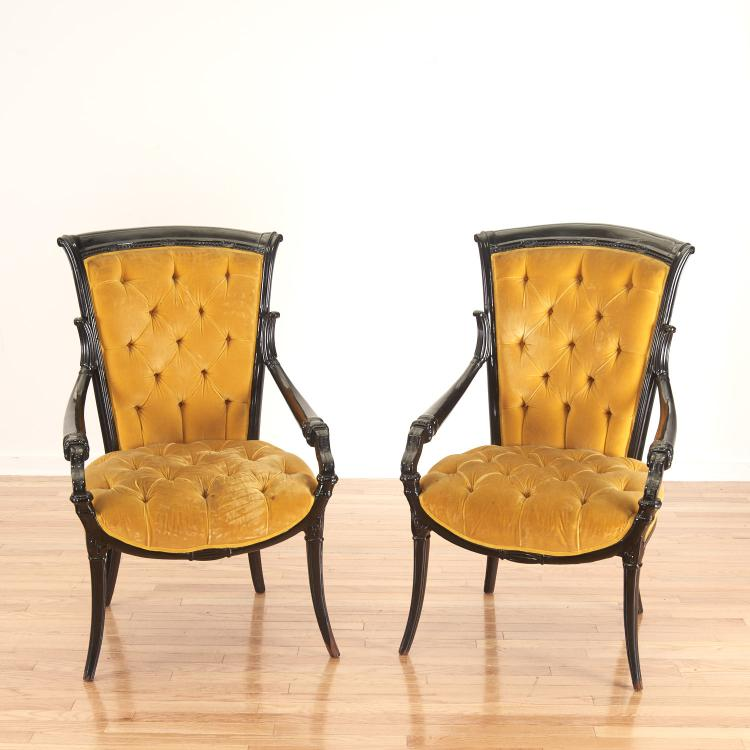 Pair Victorian style ebonized open armchairs