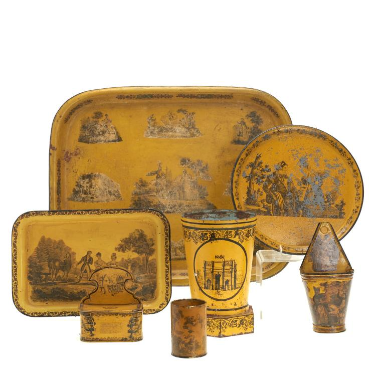 Group (7) French yellow tole trays and vessels