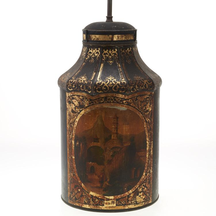 Antique English tole tea canister lamp