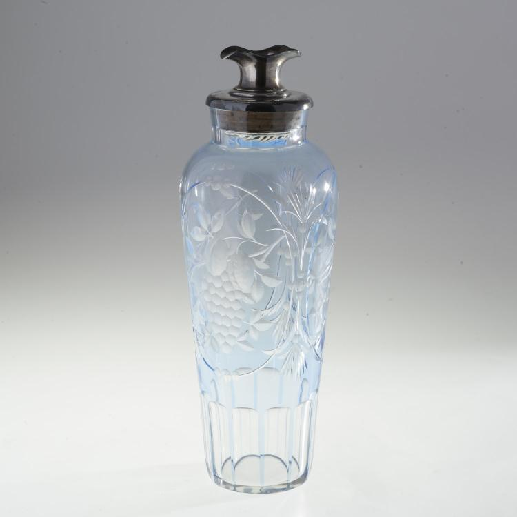 Tall English pale blue cut glass cocktail shaker