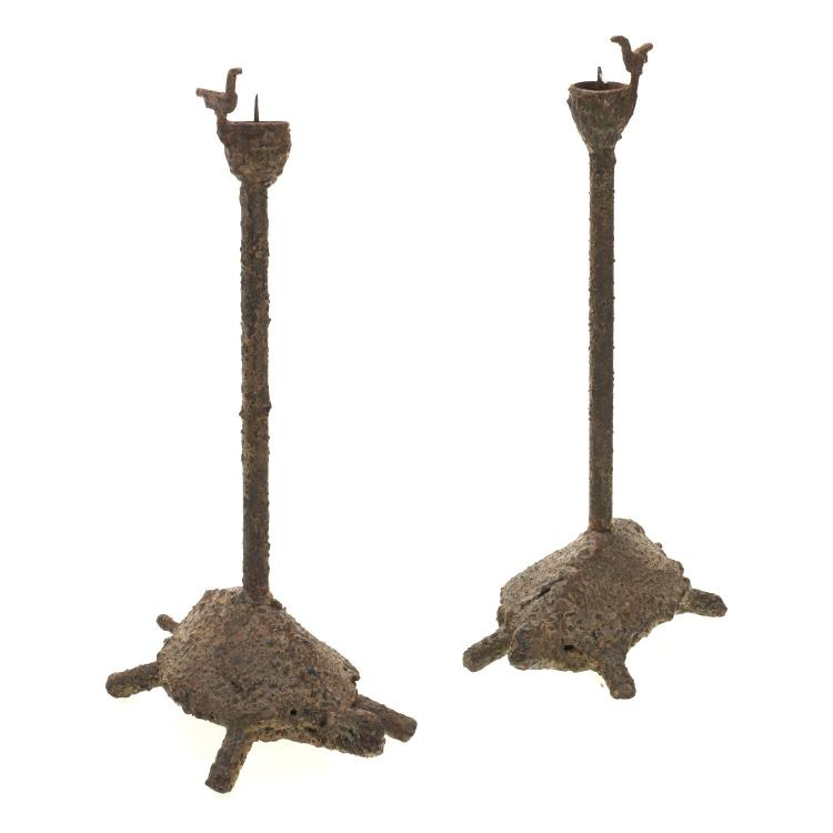 Pair Brutalist bronze turtle form candlesticks