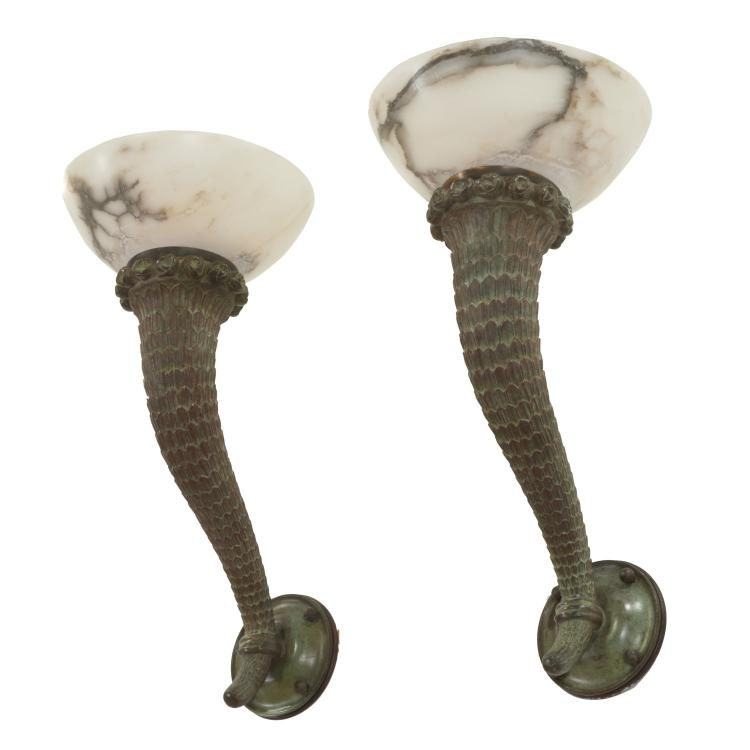 Manner Armand Rateau bronze, marble sconces