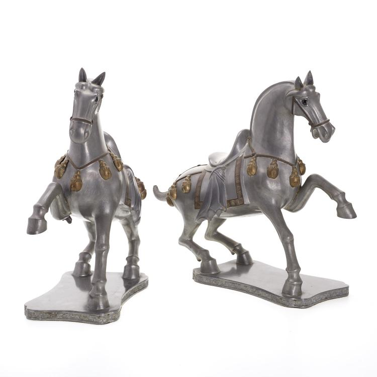 Large pair Chinese pewter caparisoned horses