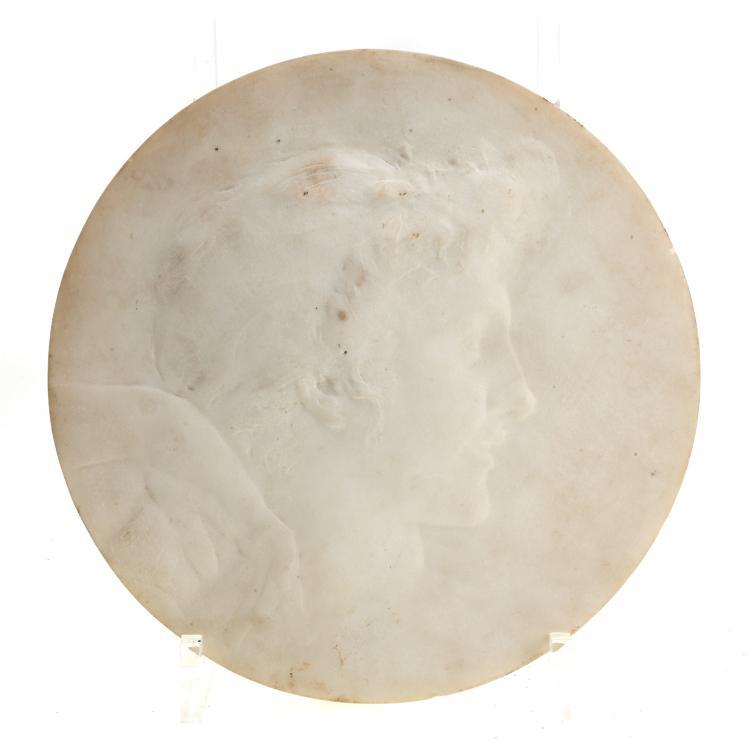 John Flanagan, marble portrait tondo