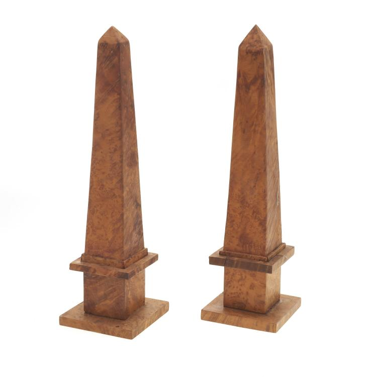 Pair Antique English burl wood obelisks