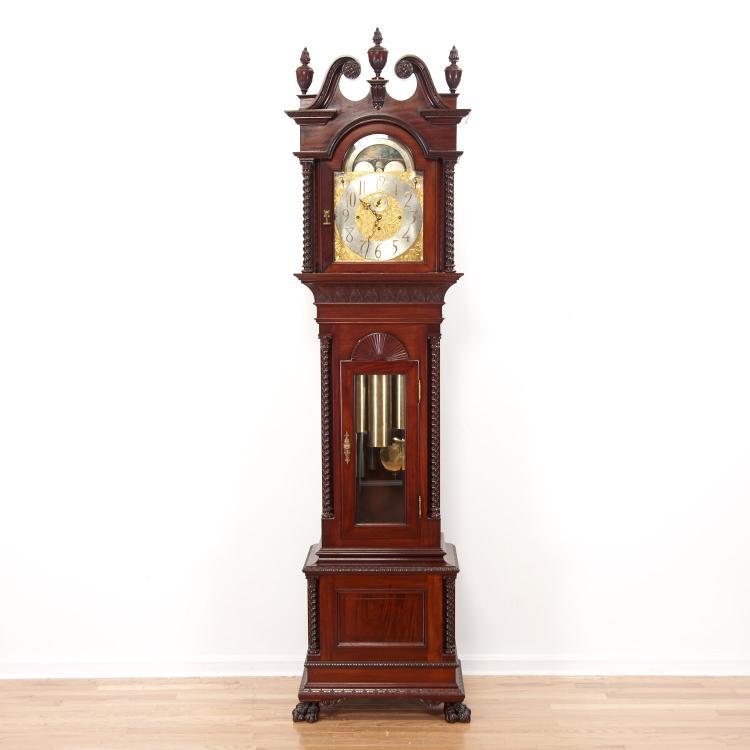 Walter Durfee mahogany tall case clock