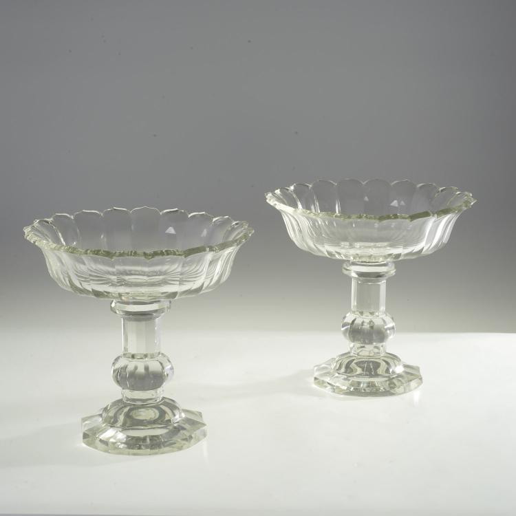 Pair Antique Anglo Irish cut glass compotes