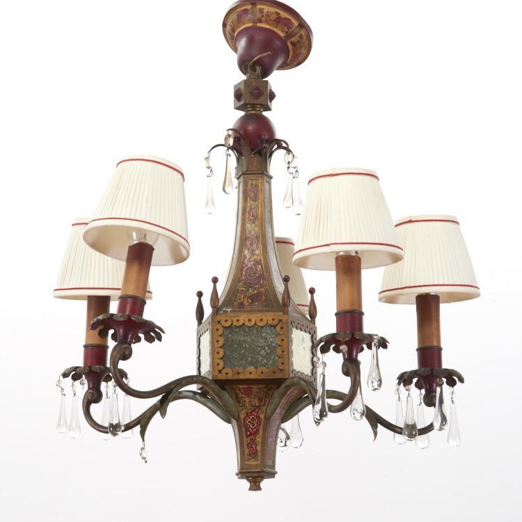 Continental mirrored tole chandelier