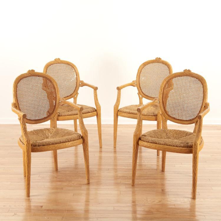 Set (4) Italian faux bois armchairs