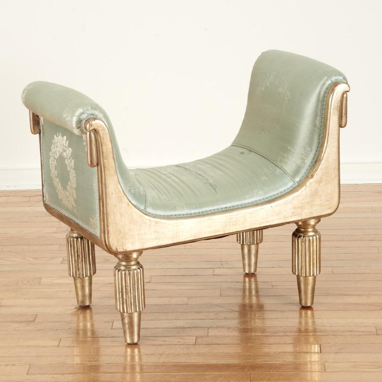 French Art Deco silver gilt upholstered bench