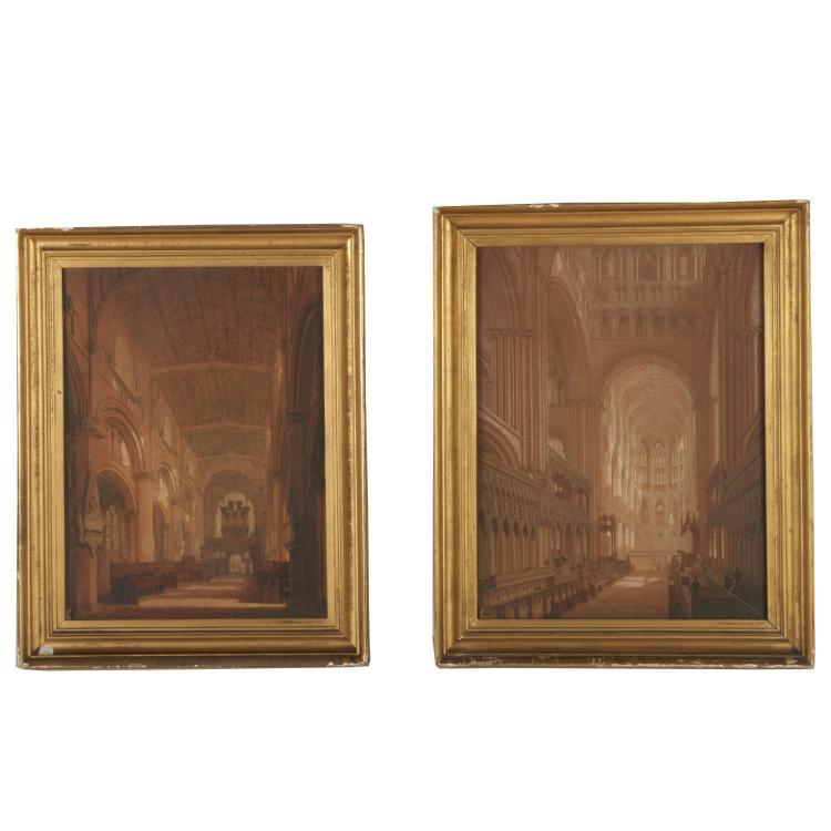 Frederick Mackenzie, pair watercolor paintings