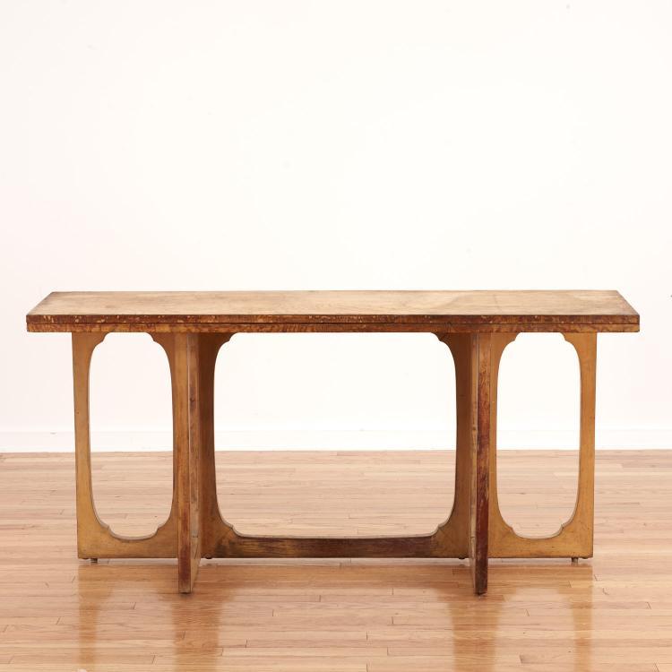 Johan tapp convertible burl wood console table for Convertible console table