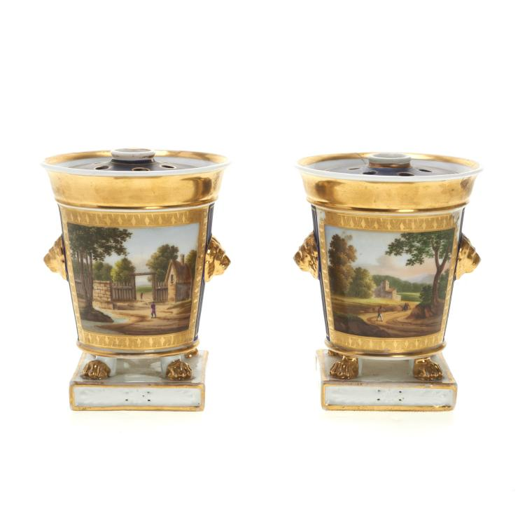 Pair Paris porcelain parcel gilt tulip vases