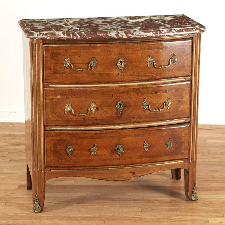 Nice Regence brass inlaid marble top commode