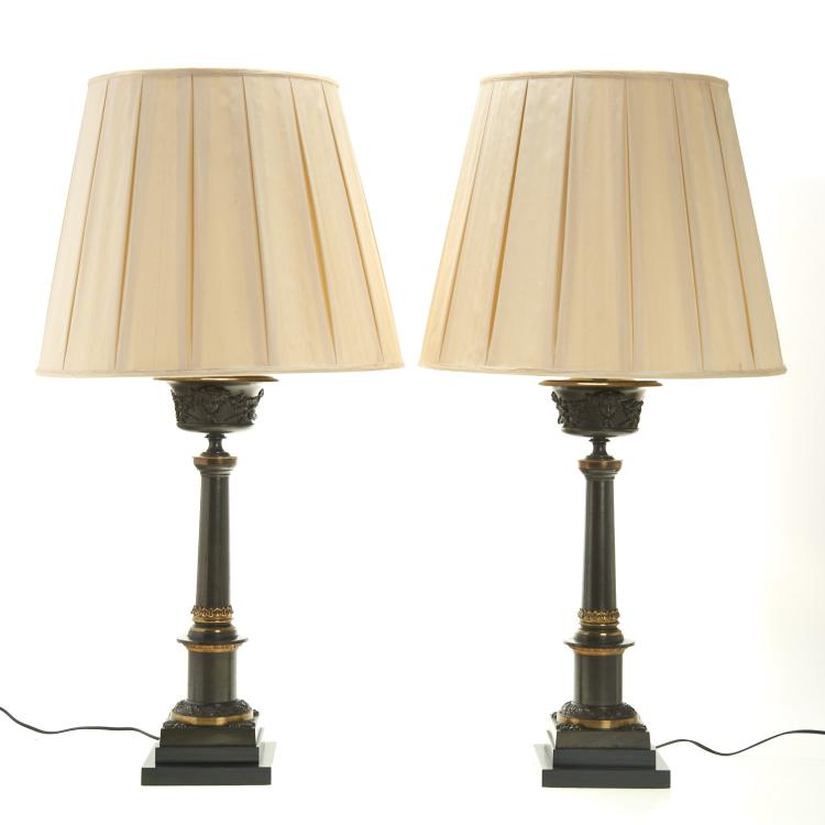 Pair Restauration patinated bronze colza lamps
