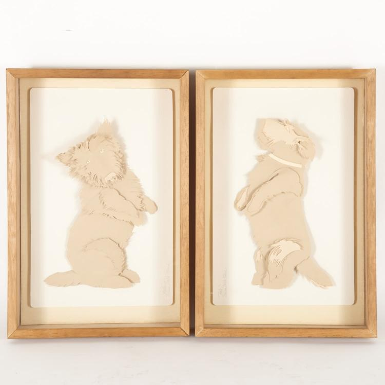 Elisa Della Piana, pair cut paper assemblages