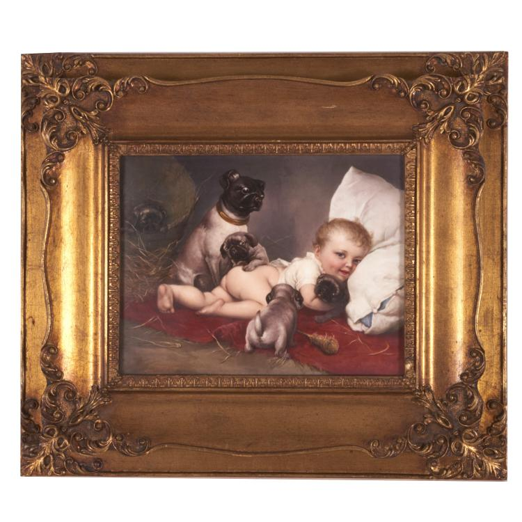 KPM porcelain plaque of a cherub with pugs