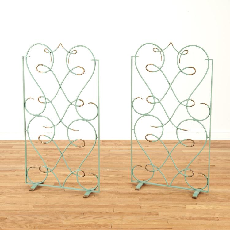 French Art Deco enameled wrought iron fire screen