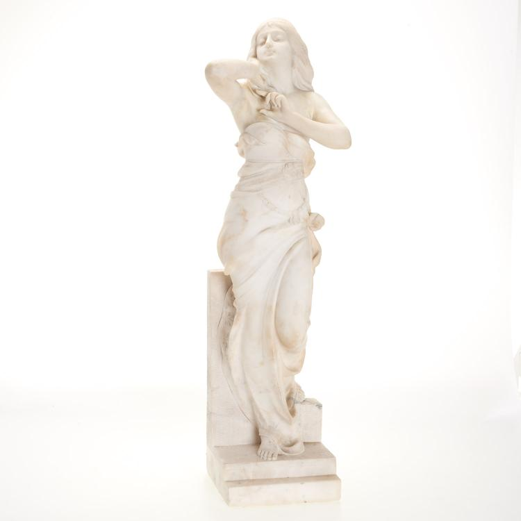 Antique Continental white marble figure of a gypsy