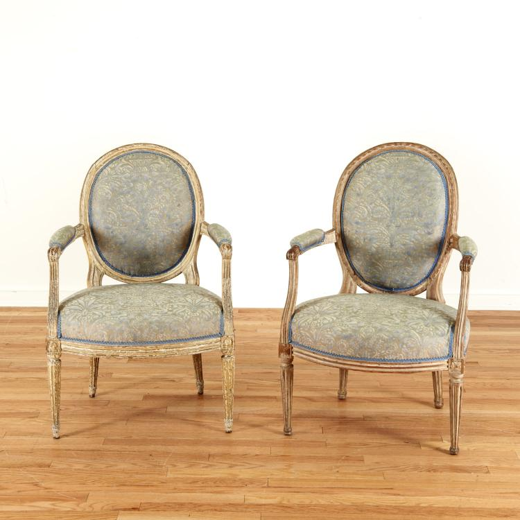 Harlequin pair Louis XVI gray painted fauteuils