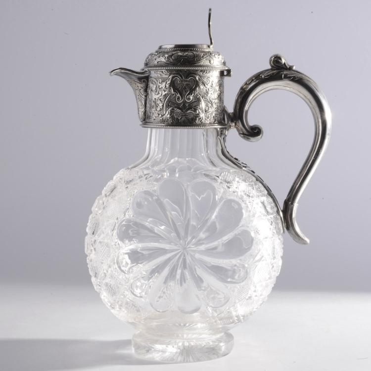 English silver plated cut glass claret jug