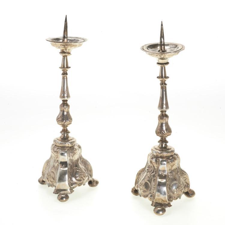 Pr Continental Rococo silver candle prickets