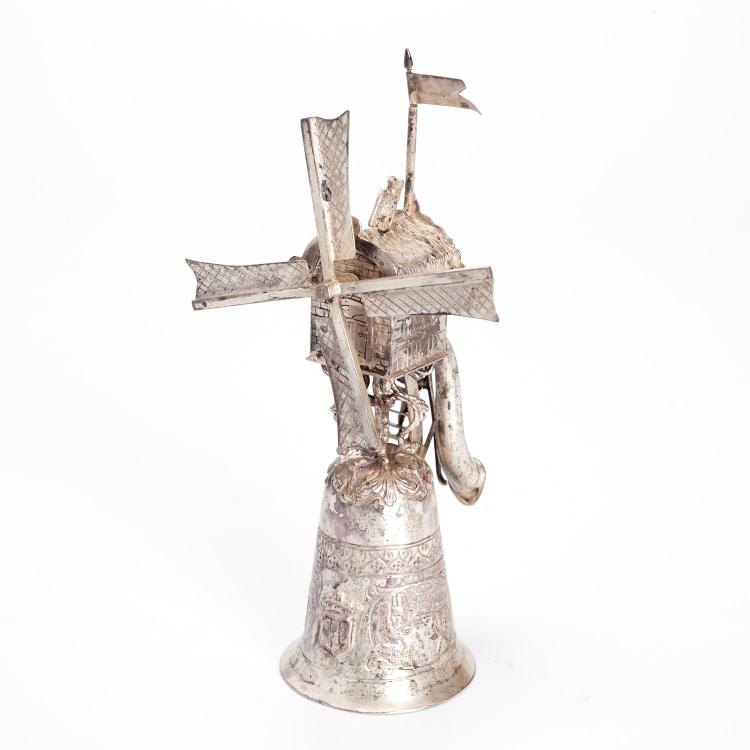Dutch silver windmill marriage cup