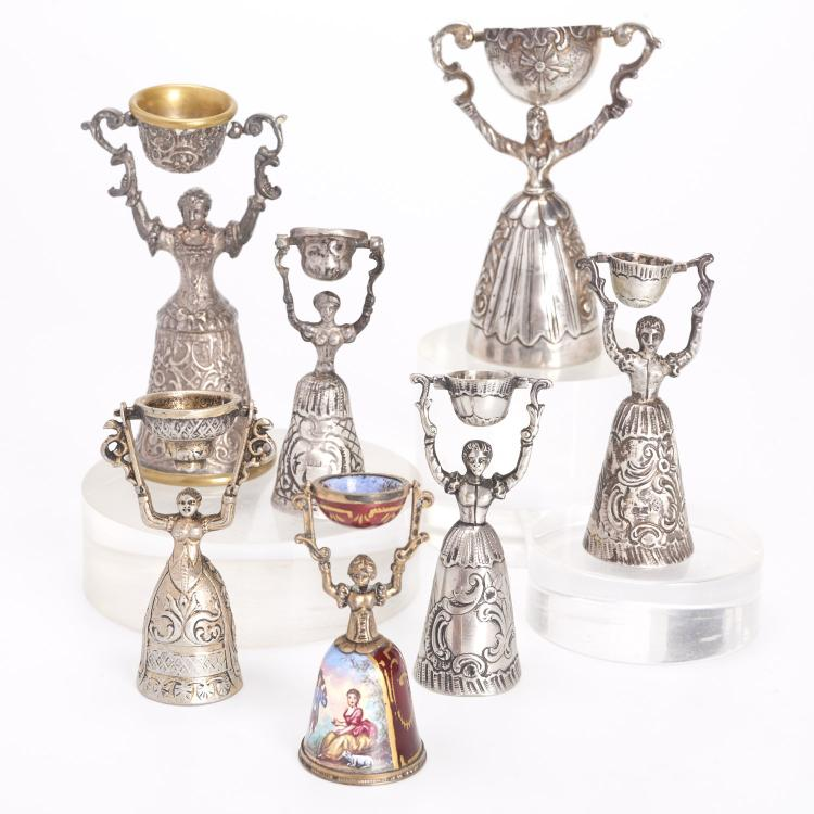 (7) Continental silver and enameled marriage cups
