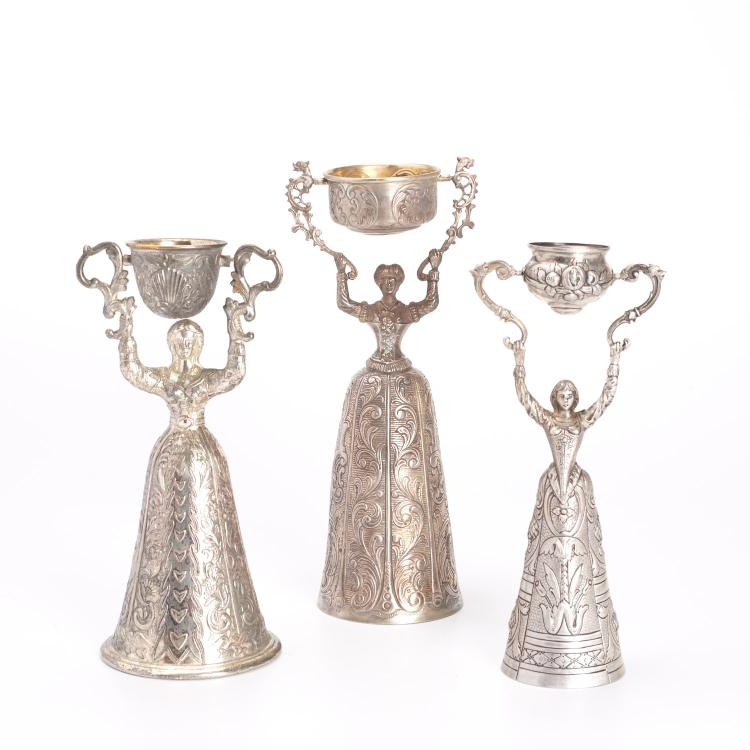 (3) Continental silver marriage cups