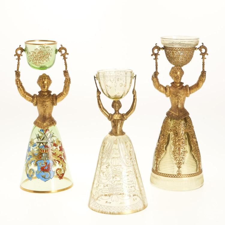 (3) Continental gilt metal and glass marriage cups
