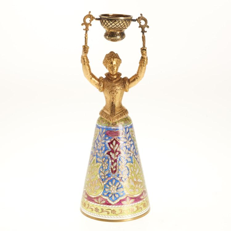 Continental gilt metal and glass marriage cup
