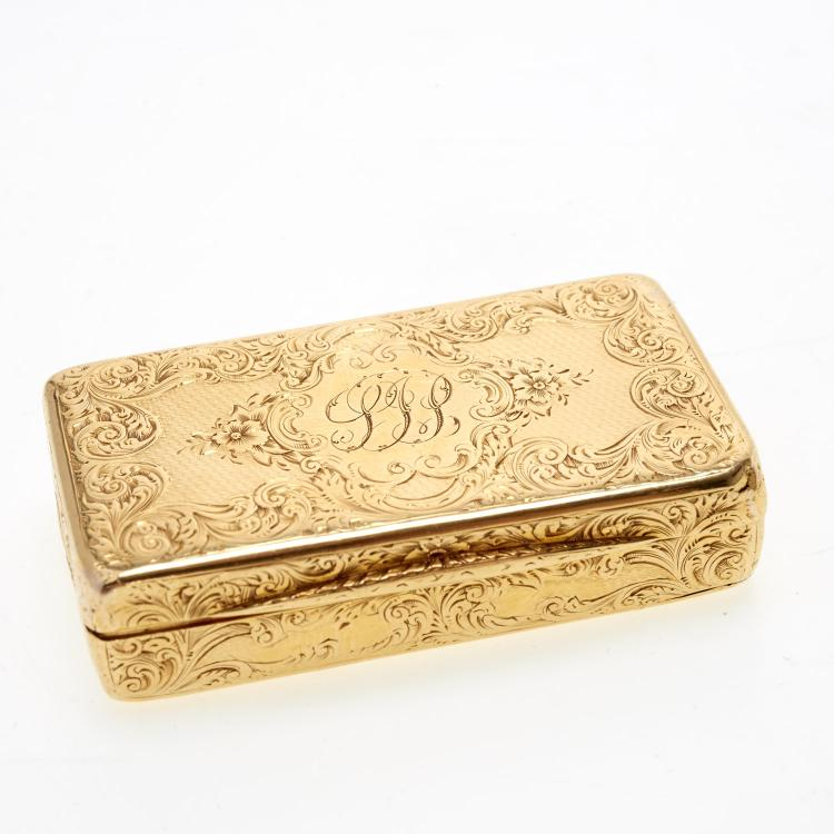 Victorian engraved 18k gold snuff box